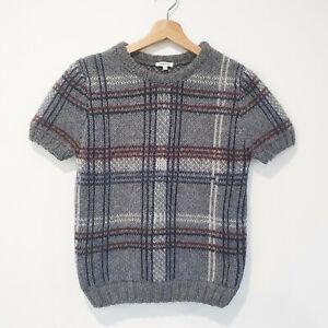 Manoush Size M Grey Tartan Check Thick Soft Knit Mohair Alpaca Wool Top Sweater