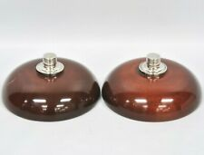 Vintage Mahogany Wood Sterling Weighted Dish Bowl Food Lid Cover PAIR