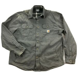 Carhartt Weathered Canvas Shirt Jacket Mens Large Snap Button Flannel Lined
