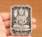 Collection Chinese old tibet silver kwan-yin buddha statue pendant netsuke