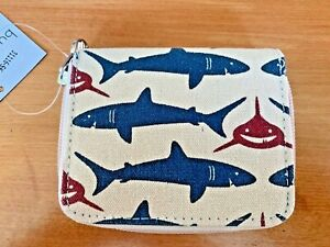 Bungalow 360, SHARK, Canvas Zip Billfold Wallet 31116-bd