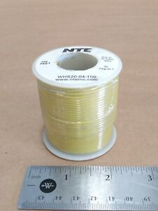 ( 100 FT Spool ) NTE WHS20-04-100 ( 20 AWG ) Solid Hook Up Wire 300V ( Yellow )