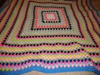 "VINTAGE Afghan Bed Throw Blanket Multi-color Handmade Knitted 50"" Square     321"
