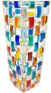 Italian Crystal Bud Vase, Hand Painted, Made in Italy