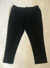 Laura Ashley Cropped / Petite Black Workwear Trousers UK 18 L26.5 Tapered Pencil