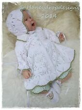 Honeydropdesigns DAISY Matinee Set * PAPER KNITTING PATTERN * For Reborn/Baby