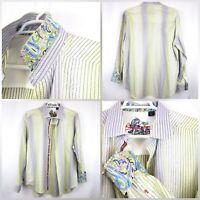 Robert Graham Mens SZ XXL Striped Flip Cuff Long Sleeve Button Down Shirt -