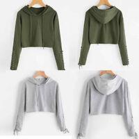 Fashion Women Hooded Sweatshirt Jumper Bandage Long Sleeve Coat Pullover Tops