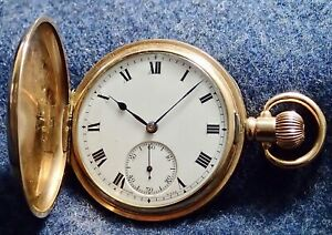 TAVANNES Watch Co Gold Filled Gents Full Hunter circa 1905 Serviced Working Well