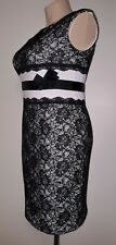 STATEMENT QP COLLECTION Women's Dress Black Lace White Trim Formal As New Size L
