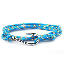 Silver Hook Blue Braid Bracelet W/ Gold Dots Handmade by Maya Bracelets W/Bag!