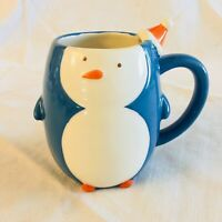 2008 Target Holiday Be Merry Figural Blue Penguin Mug 3-D Coffee Cup