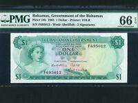 Bahamas:P-18b,1 Dollar,1965 * Queen Elizabeth II * 3 Signs * PMG UNC 66 EPQ *