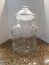 KIG Indonesia Large Lidded Clear Glass Jar with Fruit Pattern 11""