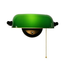 Green Glass Banker Lampshade Sconce Adjustable Wall Light with Pull Chain Switch