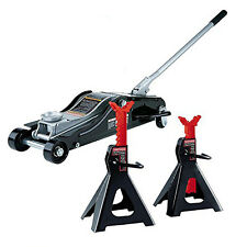 Low Profile Floor Jack and High Lift Jack Stands Set Combo Pro Durable Quality