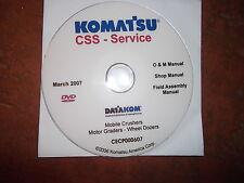 KOMATSU CRUSHERS MOTOR GRADERS CRAWLER DOZERS SERVICE SHOP REPAIR MANUAL CD
