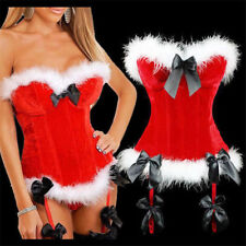 Lady Santa Christmas Party Sexy Basque+Garters+Thong Hen Night Boned Corset Sets