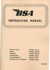 1966-1967 BSA  A50 A65 Instruction Book Spitfire Lightning Thunderbolt RoyalStar