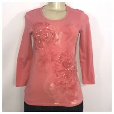 Reba Coral Pink and Silver Floral Design Tee Small