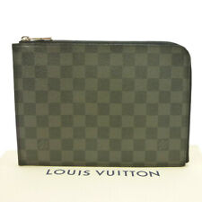 Authentic LOUIS VUITTON Pochette Jour PM Clutch Damier Graphite N41502 #S406137