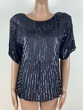 Vintage FRANK USHER Black Sequin Beaded Sparkly Silk Top Medium (10/12) Gatsby