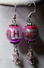 Unique Hot Pink CANCER Strength Bead 925 Earrings Bling RIBBON Handcrafted Nora