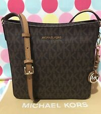 NEW MICHAEL KORS JET SET TRAVEL PVC LG CROSSBODY BAG with MK CHARM IN BROWN $268