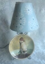 Plate Stand Lamp W/ Royal Doulton Bradex 1991 In Disgrace Victorian Girl Plate