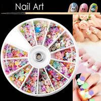 Mixed Color 3D Rhinestone Flower Bead Nail Art Tips Decoration Wheel DIY 1200Pcs