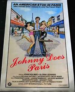 Movie Poster Johhny Does Paris1981 Rated Adult Porn Film Linen Backed Restored