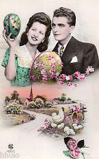BK490 Carte Photo vintage card RPPC couple fantaisie fête de pâques poule oeuf