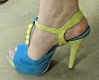 Scarpe Estive colorate con plato e perline giallo azzurro numero 37