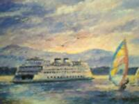 amazing BEAUTIFUL PHOTO POST CARD PUGET SOUND FERRY WASHINGTON STATE FERRIES