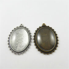 4 sets Vintage Metal Bezel Frames + Glass Cameo 40x30mm Jewelry Pendant Charm