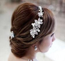 women Rhinestone Faux Pearl Flower Bridal headband Head wear Silver Jewelry