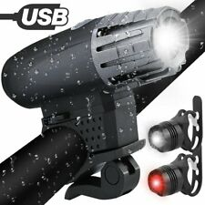 Bike Light Set, Solocil USB Rechargeable Cycling Light Set with 4 Light Modes