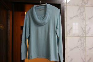 Damen Pullover Gr. 44 RABE Türkis schöne Kragenform + Pailletten am Ausschnitt