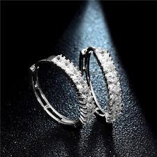 Ladies Girls Earring Silver Tone Cubic Zirconia Medium Hoop Earrings