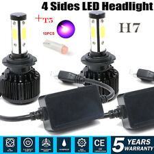 4-Sides H7 LED Headlight Kit 240W 46000LM Bulbs 6000K Hi/Low Beam CANBUS White