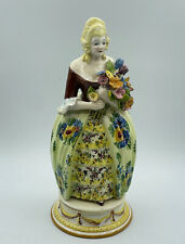 Vintage Paul's 4605 Z.A.B. Italy Ceramic Victorian Woman Floral Figurine Statue