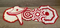 Vintage Set Of 5 Handmade crocheted Red / White Doilies Pot Holder