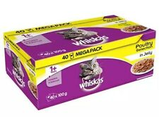 Whiskas 1+ Years Cat Pouches Poultry Selection in Jelly 40 FOR THE PRICE OF 32
