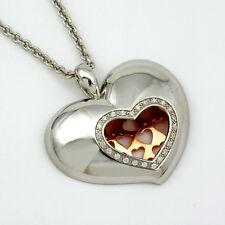 ciondolo cuore, argento con sint. zirconia und Roter placcato oro