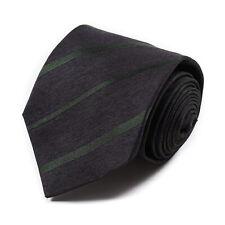 Borrelli Napoli 7-Fold Charcoal Gray and Green Ribbon Stripe Silk Tie