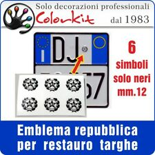 Emblema Repubblica Italiana nero per targhe auto mm12 - 001516 by Colorkit