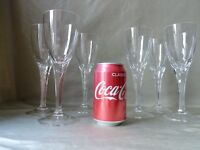 6 Villeroy And Boch Adeline Cut Champagne /Wine Glasses, Not Signed, h 21,5cm