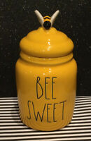 "New Rae Dunn by Magenta ""BEE SWEET"" Yellow Baby Canister with Bumble Bee Lid"