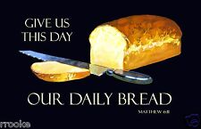 Give Us This Day Our Daily Bread Poster Vintage Blessing Print Kitchen Home Art