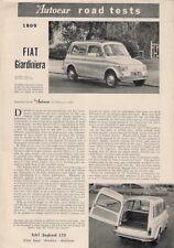 FIAT 500 D GIARDINIERA PROVA SU STRADA 1961 UK Mercato PIEGA BROCHURE Autocar